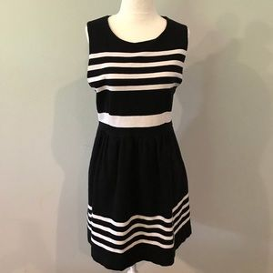 Size Medium- J Crew dress, black & white striped